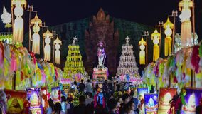 Colorful thousands lanna lanterns at night, Lamphun lantern festival. 4k, timelapse, The Phra Nang Chamthewi Statue, Lamphun, Thailand – 10 May, 2017 stock video
