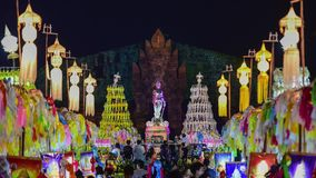 Colorful thousands lanna lanterns at night, Lamphun lantern festival. 4k, timelapse, The Phra Nang Chamthewi Statue, Lamphun, Thailand – 10 May, 2017 stock video footage