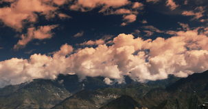 4k timelapse puffy clouds mass rolling over Tibet mountaintop,roof of the World. stock video footage