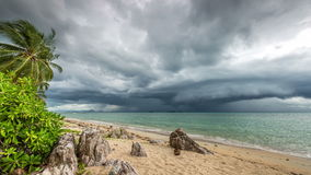 4K TimeLapse. Rapidly looming thunderstorm storm on the beach, Koh Samui, Thailand stock video