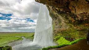 4K TimeLapse. Seljalandsfoss - one of the most famous waterfalls in Iceland. Iceland, 15 June 2015