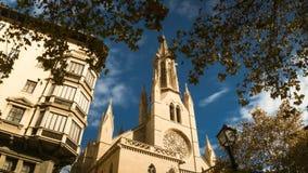 4K timelapse St Eulalia kerk in Palma de Mallorca, Spanje stock video