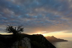 4K. Timelapse sunrise in the mountains bay Laspi. Crimea, Ukraine. FULL HD stock footage