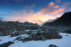 4K. Timelapse sunrise in the mountains Cho Oyu, Himalayas, Nepal. stock video