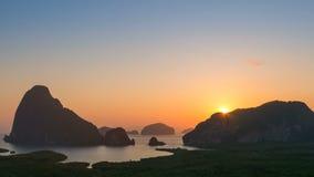 4K Timelapse of sunrise over the mountain, Samet nang she, Phangnga, Thailand stock video