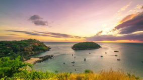 4K TimeLapse. Sunset on the background Island in the sea bay with cape at Phuket Island, Thailand. January, 2016. stock video