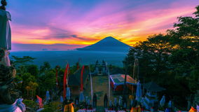 4K Timelapse. Sunset on the background volcano Gunung Agung. 15 July 2015, Bali, Indonesia stock footage