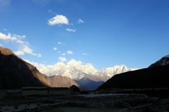 4K. Timelapse sunset in the mountains Himalayas, Dole village� stock footage
