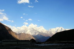 4K. Timelapse sunset in the mountains Himalayas, Dole village stock footage