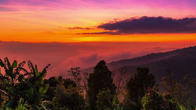 4K Timelapse. Sunset in the mountains turns into night. 15 July 2015, Bali, Indonesia stock video