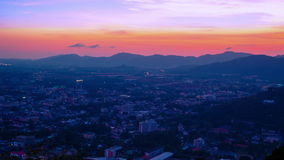 4K TimeLapse. Sunset over closeup the Phuket Town, Thailand. stock footage