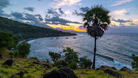 4K Timelapse. Sunset proceeds to the night on the Jemeluk Beach. 15 July 2015, Bali, Indonesia stock video