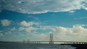 4K Timelapse Super View of Bandra Worli Sea link Known as Rajiv Gandhi Sea Link With Moving Blue Sky Mumbai
