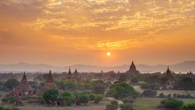 4K Timelapse of the temple of bagan at sunset, Myanmar stock video footage