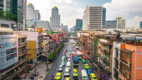 4K TimeLapse. Top view of the movement of cars in city traffic. 4K TimeLapse - February 2014. Bangkok and Phuket island, Thailand stock video footage