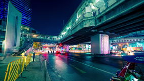 4K TimeLapse. Traffic on the road along the bridge at night in Bangkok, Thailand. January, 2016. stock video