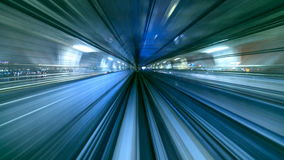 4K Timelapse of train moving in tunnel,Tokyo, Japan stock footage