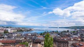 4K Timelapse van het waterfontein van Genève van de Saint Pierrekathedraal - Zwitserland stock footage