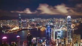 4K Timelapse van Hong Kong-horizon bij nacht, China stock video