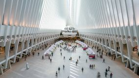 4k timelapse video of commuters at the One World Trade Center Transportation Hub. New York, USA - May 10, 2018: 4k timelapse video of commuters at the One World stock video footage