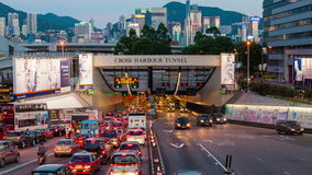4k timelapse video of cross harbour tunnel traffic in Hong Kong. Hong Kong, China - June 19, 2015: 4k timelapse video of vehicles using the cross harbour tunnel stock video