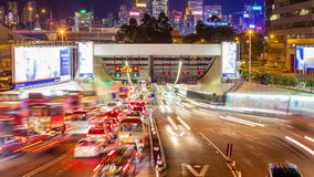 4k timelapse video of cross harbour tunnel traffic in Hong Kong. At night stock video