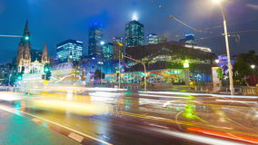 4k timelapse video of downtown Melbourne at night
