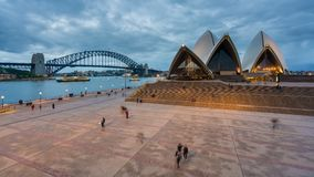4k timelapse video of Sydney Opera House and Harbour Bridge stock video footage
