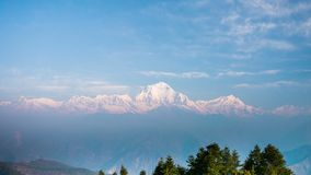 4k Timelapse view of Dhaulagiri mountains range from Poon hill, Nepal. Poon hill is a part of Annapurna Sanctuary trek, one of the most popular adventure stock video footage