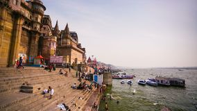 4k timelapse, view of Ganges river with the boats and holy ghats. VARANASI, INDIA - CIRCA MAY 2014: 4k timelapse, view of Ganges river with the boats and holy stock footage