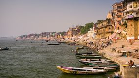 4k timelapse, view of Ganges river with the boats and holy ghats. VARANASI, INDIA - CIRCA MAY 2014: 4k timelapse, view of Ganges river with the boats and holy stock video footage