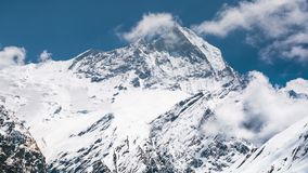 4k Timelapse view of Machapuchare (Fish Tail) mountain stock footage