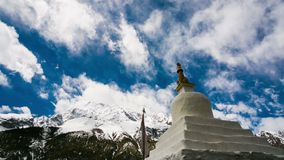 4k timelapse view of monastery in Himalaya mountains, Braka, Nepal. stock video footage