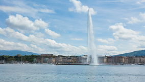 4K Timelapse of the water fountain symbol of geneva switzerland stock video