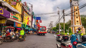 4K TimeLapse. Wide angle Camera. Movement of cars and people in the old district. 4K TimeLapse - February 2014. Bangkok and Phuket island, Thailand stock video footage