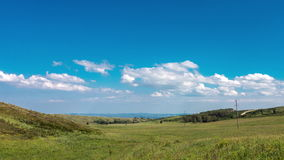 4k Timelapse yellow-green hill and sky with clouds. Wild grasses. stock video