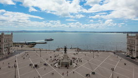 4k timelaspe του τετραγώνου εμπορίου - Praça κάνετε το commercio στη Λισσαβώνα - την Πορτογαλία - UHD απόθεμα βίντεο