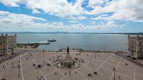 4k timelaspe of commerce square - Praça do commercio in Lisbon - Portugal - UHD. 4k timelaspe of commerce square - Praça do commercio in Lisbon stock footage