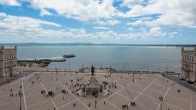 4k timelaspe of commerce square - Praça do commercio in Lisbon - Portugal - UHD. 4k timelaspe of commerce square - Praça do commercio in Lisbon stock video footage