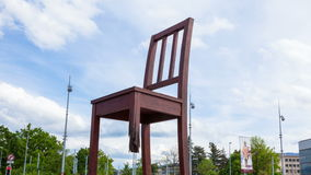 4K Timelaspe of the Geneva broken chair in front of the united nation building  - Switzerland stock footage