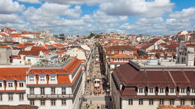 4K timelpase της οδού του Αουγκούστα κοντά στο τετράγωνο εμπορίου στη Λισσαβώνα, Πορτογαλία - UHD φιλμ μικρού μήκους
