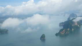 4K. top view aerial video of beauty nature landscape with many small island around Phuket island , Thailand. footage from plane. 4K. top view aerial video of stock footage