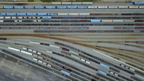 4K Top view of railroad rail yard stock video footage