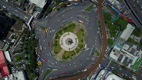 4K Top view of traffic circle at Bangkok.  stock footage