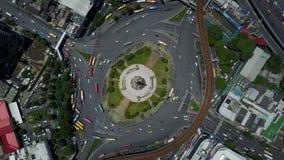 4K Top view of traffic circle at Bangkok stock footage