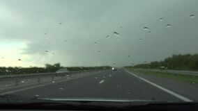 4K Traffic in Rain, Driving Car in Storm on Road Highway ,Stormy Windshield Travelling View