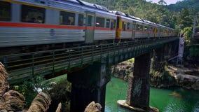 4K trein die brug doorgeven over de rivier, die door berg van Shifen gaan stock videobeelden