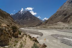 K2 trekking trail terrain, Karakoram range, Pakistan Royalty Free Stock Photography