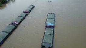 4K Truck boat in chaopraya river Bangkok Thailand stock video