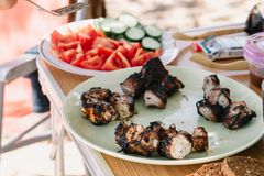 K?ttkebab p? en platta med gr?nsaker Trevlig ny mat och korg p? gr?set fotografering för bildbyråer